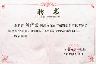 广东省知识产权专家咨询委员会委员